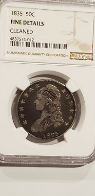 Lot#AB9- 1835 Capped Bust Half Dollar Certified NGC Fine Details Cleaned - RARE!