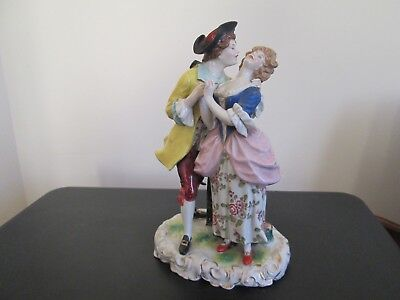 Superb 19th Century Continental German Porcelain Figure Group Crown above L Mark