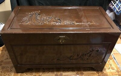 Antique Oriental Chinese Carved Large Chest/Trunk/Blanket Box