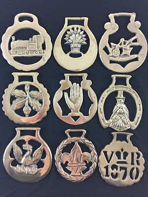 Vintage/Antique Polished Horse Brasses with Various Iconic Patterns #1 display
