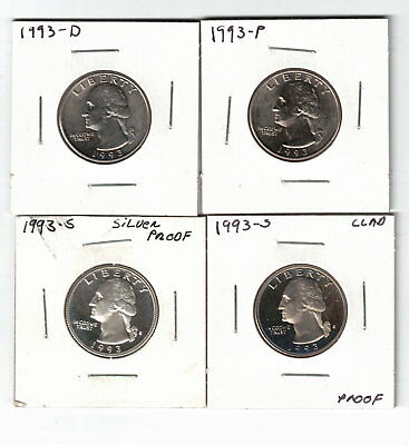 Year Set Of Washington Quarters 1993 P,d,s With Silver Proof