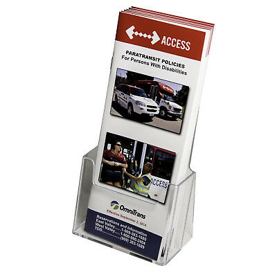 CLEAR acrylic trifold brochure holder - pamphlet display stand 4.25W X 7.25H