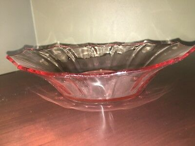 """Antique Pink Depression Glass Candy Nut Dish 10"""""""