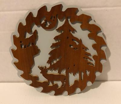Howling Wolf Saw Blade Style Deer Trees Sign Plaque Wildlife Nature Wood Layered