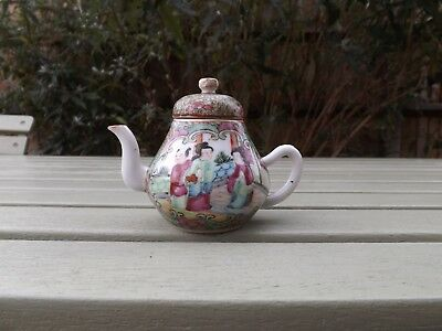 ANTIQUE CHINESE CANTON FAMILLE ROSE SMALL TEAPOT 19th CENTURY.