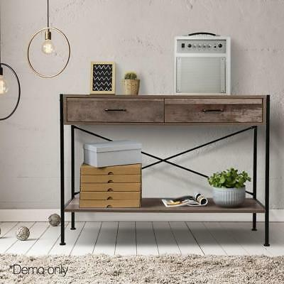 Industrial Hall Console Table Rustic Wood Side Table Entry Display Drawer Desk