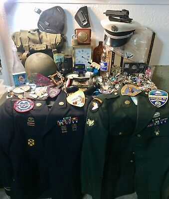 Vtg Junk Draw Lot Jewelry Wear Parts Craft Military Patches Holsters Helmet Hat