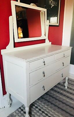 Stunning Restored vintage dressing table with mirror in cream.