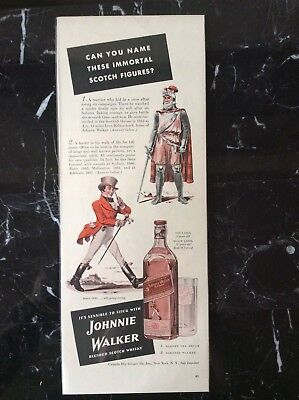 1941 vintage Original color print ad Johnnie Walker Scotch Whiskey