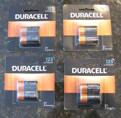 8  Duracell  123  Lithium Batteries  Dl123A, 3V Cr17345  New In Sealed Packs