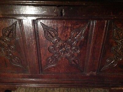 Early Carved Oak Mule Chest Sword Coffer Cabinet 17th century Gothic Box
