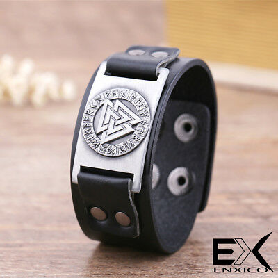ENXICO Viking Odin's Valknut with Runic Circle Amulet Leather Bangle Bracelet