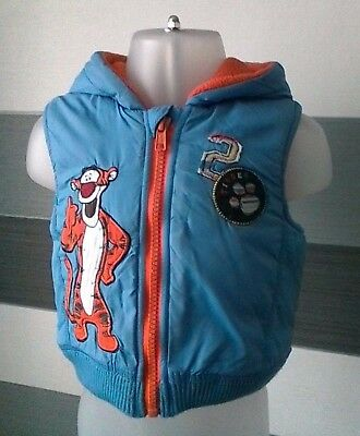 Baby Boys Disney Tigger Gilet Bodywarmer with Hood Fleece Lined 3-6 months