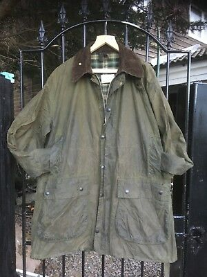 "Barbour Border green wax Country Shooting Casual jacket size 46"" +"