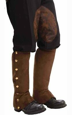 Steampunk Male Spats Boot Covers Brown Adult Mens Accessory Fancy Dress Costume