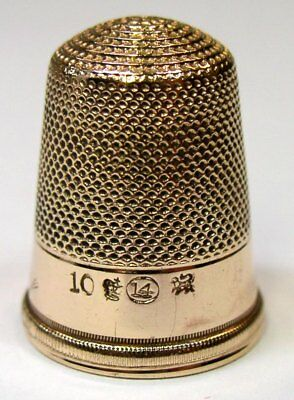 "Antique H. Muhr's Sons Gold Presentation Thimble  ""For Mother""  C1880s"