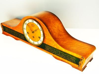 Pure Art Deco Westminster Chiming Mantel Clock Dubel Germany Special Wood
