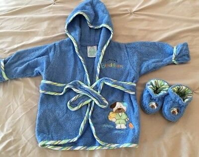 Okie Dokie Baby Bath Robe With Matching Slippers, Size 0-9 Months, Preowned