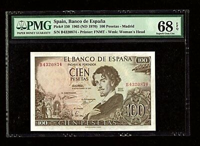 Spain | 1965 | 100 Pesetas | P# 150  | Pmg 68 Epq Superb Gem Unc