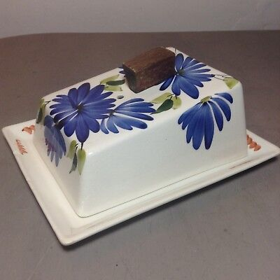 Toni Raymond Pottery Blue Floral Cheese Bell