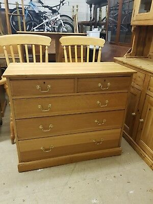 Solid Light Oak Edwardian Chest Of Drawers