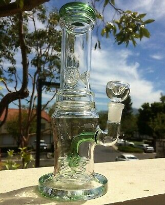 Collectible Tobacco Glass Water Pipe Bong Bubbler Hookah Honeycomb Perc 9""