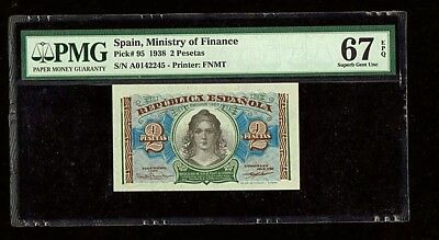 Spain  Ministry Of Finance | 1938 | 2 Peseta | Pick# 95 | PMG 67 EPQ