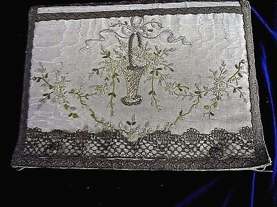 Antique Silk Folder Portfolio Folio Metallic Gold Trim & Very Fine  Embroidery