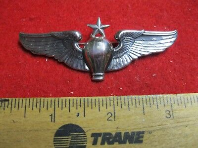 """Uncommon! 1920's Sterling Sr Balloon Pilot 3 1/8"""" Pin Back Wing"""