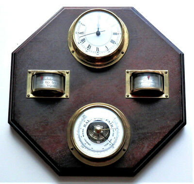 Vintage German Wooden / Brass Weather Station , Baro,thermo,hygro And Clock 4In1