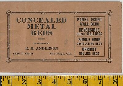Antique 1912 R.H. Anderson, San Diego, Concealed Metal Beds Catalog, Murphy beds