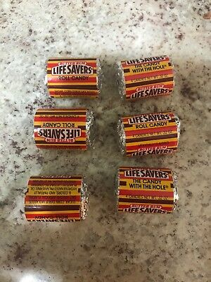6 Nabisco Mini lifesavers Vintage Candy Roll BUTTER RUM 80s .32 oz