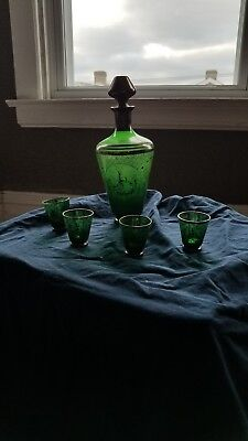 Vintage Green Decanter Set With Gold Trim Venice Scene 4 Shot Glasses