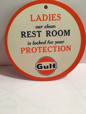 RARE 1960's GULF SERVICE GAS STATION LADIES REST ROOM KEY ADVERTISING FOB MINT !