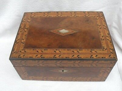 Antique Inlaid Box Walnut Mop Documents Sewing Etc.