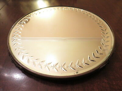 """Antique Large Beveled Edge 14"""" Round Footed Floral Garland Cut MIRROR PLATEAU"""
