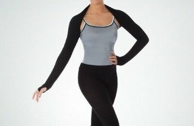 NEW Women Dance Shrug with Thumb Holes Body Wrappers 7347 Black MA-LA