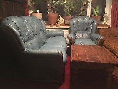 VINTAGE SOFA 3 And 1SEATER BLUE LEATHER  COMPLETE SET WOOD  FRAME