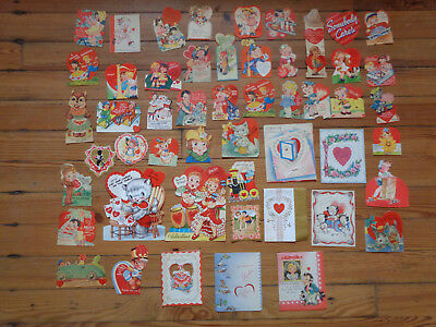 Vintage Valentine Greeting Card Lot Die Cut Lot Of 50 CATS ANIMALS DOGS NURSE