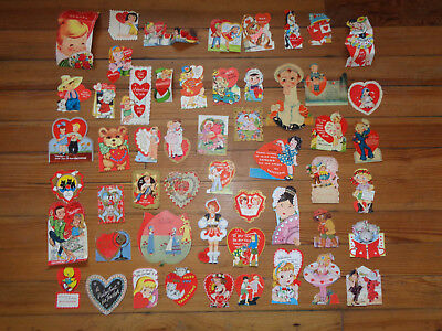 Vintage Valentine Greeting Card Lot Die Cut Lot Of 50 CATS ANIMALS DOGS ESKIMO
