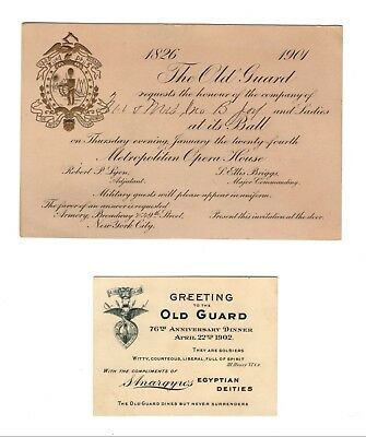 PAIR RARE 1900's Old Guard Of New York City Ball Invitations Theodore Roosevelt