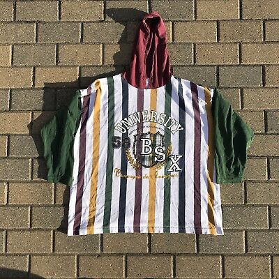 Vintage All Over Striped Guess BSX French Large/XL Hoodie shirt