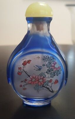 Vintage REVERSE PAINTED Hand Painted Chinese Snuff Bottle