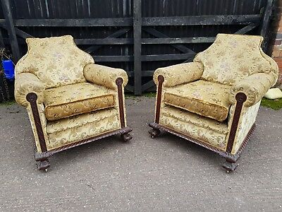 Stunning Matching Pair of Antique Fireside Lounge Chairs x2