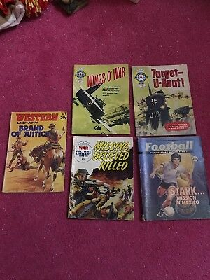 Joblot Of 5 Comics 1960s/70s - Western Library/air Ace/war Picture Library/footy