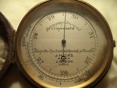 Pocket Surveing Barometer Brass J. Hicks London Aneroid Compensated