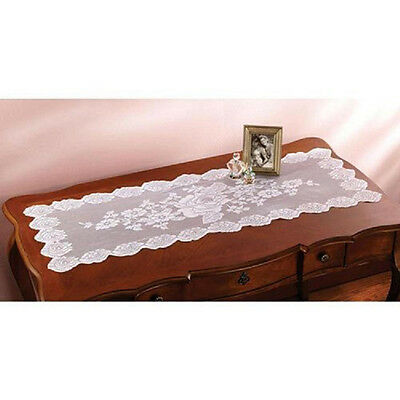 """White Lace Rose Table Runner Doily Tabletopper  45"""" x 16"""" New! Machine Wash"""