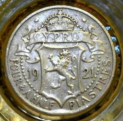 Zypern -SILBER- 4 1/2 Piastres 1921 , British government of Cyprus, George V..