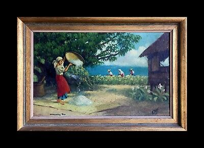 Beautiful old Original R.Sosa oil painting of women winnowing rice.Signed/Dated