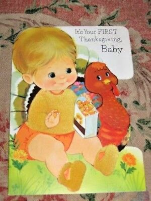 Vintage Colorful Norcross Baby & Turkey Fuzzy Thanksgiving Greeting Card 1970s